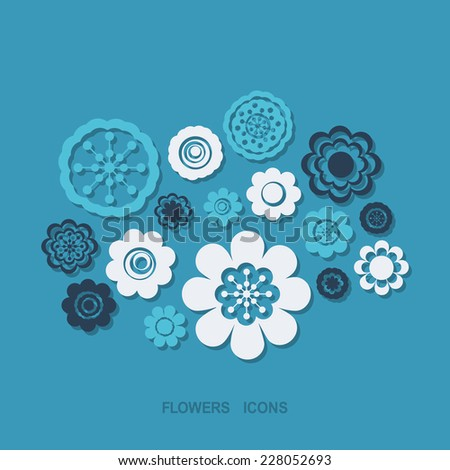 Flat concept, set modern design with shadow icons for web design and mobile applications, SEO. search Working Optimization:  flower - stock vector