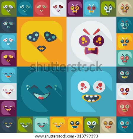 Flat concept, set modern design with shadow smiley - stock vector