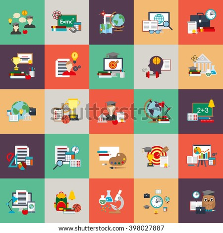 Flat conceptual icons set of education process, online learning, e-book, webinar, business training, distance education, science, creative process, university and courses, knowledge. Flat vector icon. - stock vector