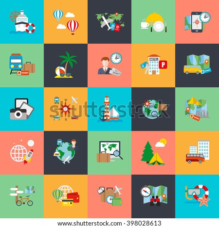 Flat conceptual icons set of tourism recreation, travel vacation to resort hotel. Flat vector icon. - stock vector