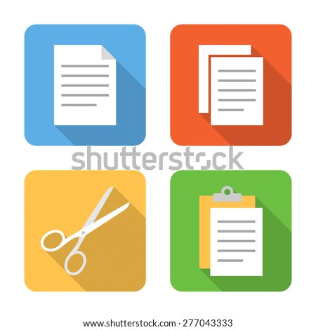 Flat copy, cut and paste icons with long shadows. Vector illustration - stock vector