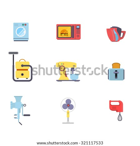 Flat creative style kitchenware object home electronics modern infographic vector icon set. Washing machine microwave oven pot vacuum cleaner mixer toaster meat grinder vent. Kitchen icons collection. - stock vector