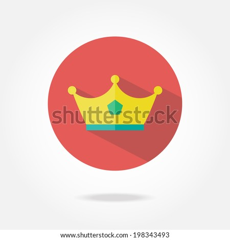 Flat crown icon. - stock vector