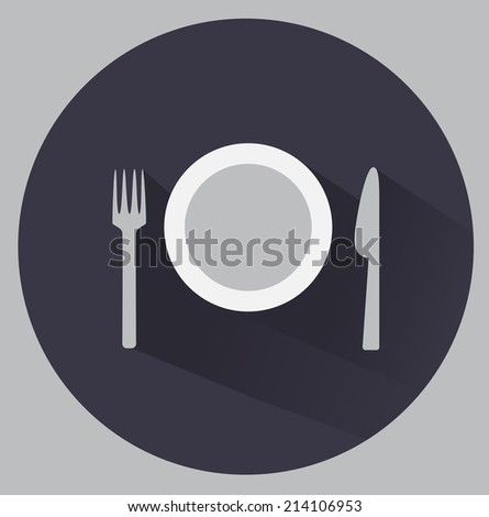 Flat cutlery and plates icon. - stock vector