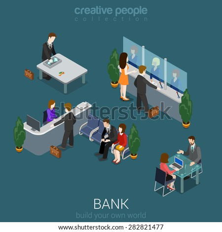 Flat 3d isometric abstract bank office building floor interior detail elements concept vector. Counter desk, cashier, vault, manager, cashdesk, currency exchange. Creative people collection. - stock vector
