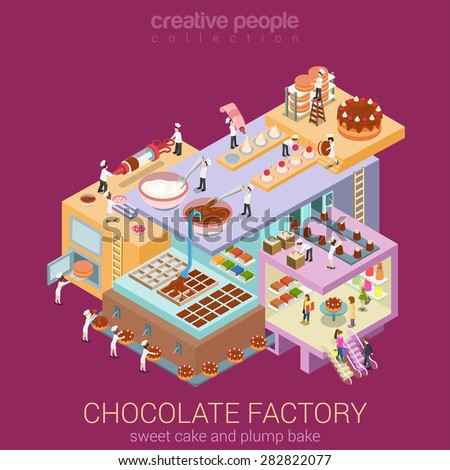 Flat 3d isometric abstract chocolate factory building floors interior departments concept vector. Confectionery workshop sweet bakery pastry cake creme brownie pie. Creative business people collection - stock vector