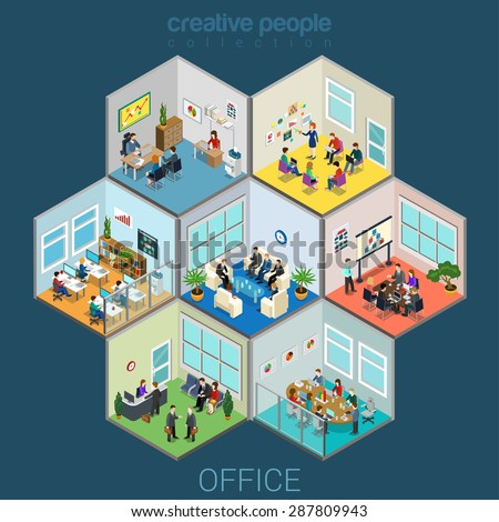 Flat 3d isometric abstract office interior room cells company workers staff concept vector infographics. Reception, meeting conference, training class, accounting, open space. Creative business people - stock vector