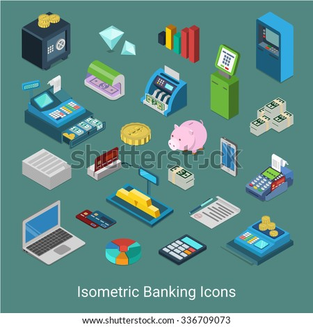 Flat 3d isometric banking financial icon set concept web infographics vector illustration. Bank finance money safe golden bar cash cashier desk ATM slip credit card processing diamond checker terminal - stock vector