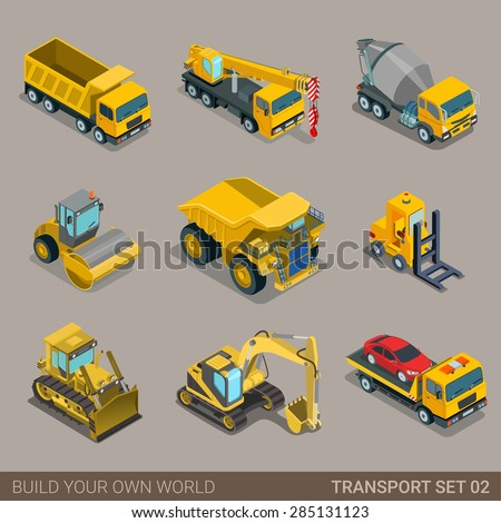 Flat 3d isometric city construction transport icon set. Excavator crane grader concrete cement mixer roller pit dump truck loader tow wrecker truck. Build your own world web infographic collection. - stock vector