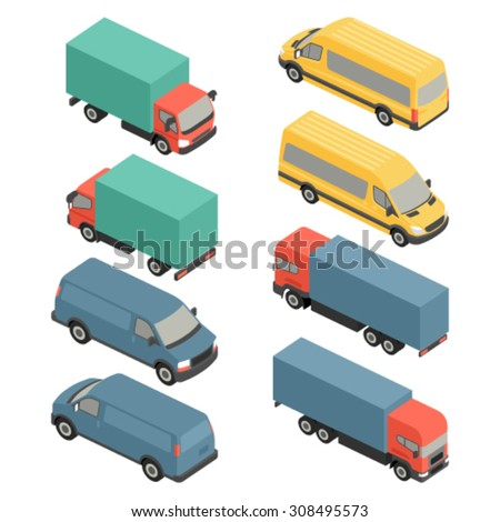 Flat 3d isometric city delivery transport icon set. Trucks and vans. - stock vector