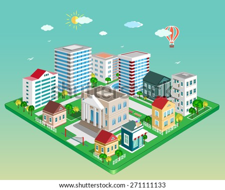 Flat 3d isometric city. Set of detailed isometric vector buildings - stock vector