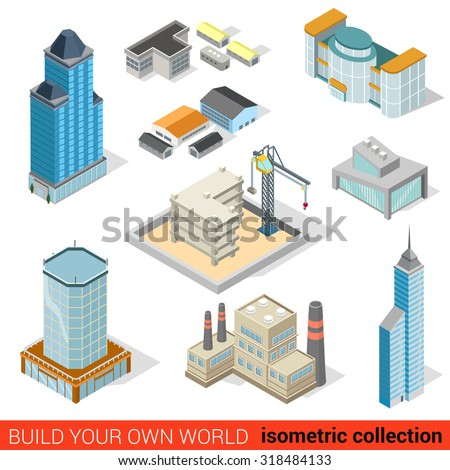 Flat 3d isometric city skyscraper building block construction place infographic set. Mall power plant storage warehouse public municipal house. Build your own infographics world collection. - stock vector