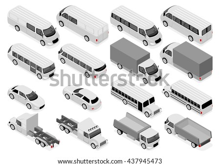 Flat 3d isometric city transport and commercial vehicle icon set. Sedan, bus and school bus, truck, ambulance - stock vector
