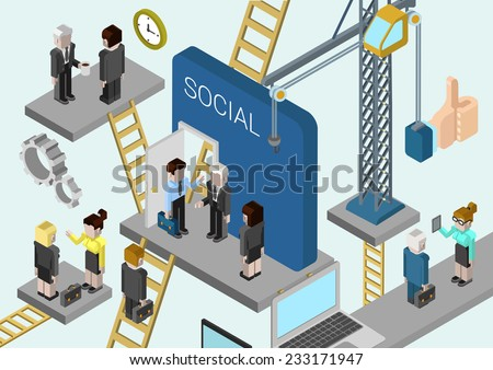 Flat 3d isometric corporate business creation, building a company, promotion in online social media web infographic concept vector. Crane, ladders connecting platforms with business people. - stock vector