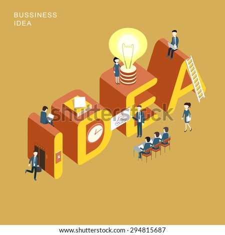 flat 3d isometric design of business idea concept - stock vector