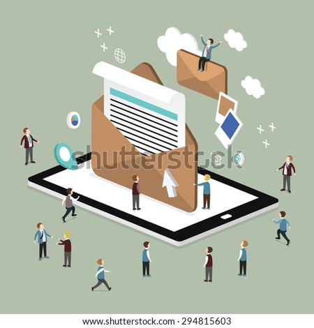 flat 3d isometric design of e-mail marketing concept - stock vector