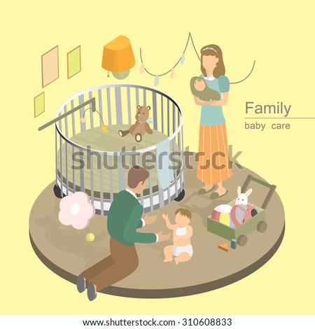 flat 3d isometric design of family baby care concept - stock vector
