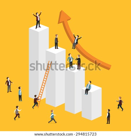 flat 3d isometric design of growing business concept - stock vector