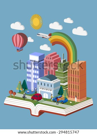 flat 3d isometric design of knowledge city concept - stock vector