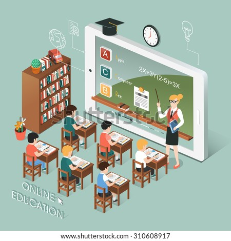 flat 3d isometric design of online education with tablet - stock vector