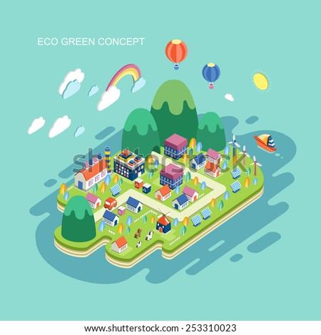 flat 3d isometric eco green concept illustration over blue background - stock vector