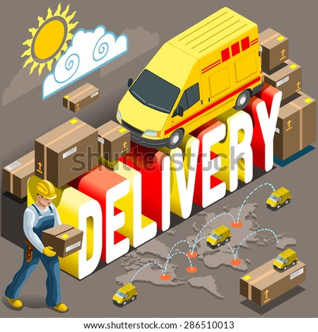 Flat 3d isometric express delivery services industry web infographic concept icon set template vector. Panel truck, delivery van, delivery man with box or package icon - stock vector
