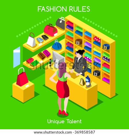 Flat 3d isometric fashion shopping abstract interior room branded bag customers clients buyers workers staff bright colorful concept vector infographics business people collection. JPG JPEG EPS 10 AI - stock vector