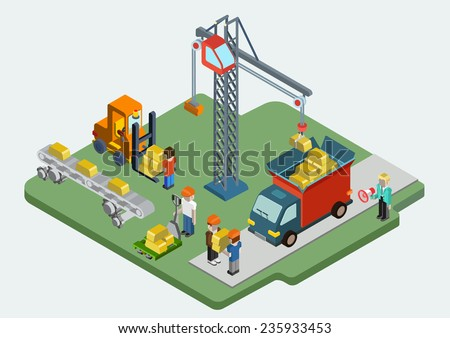 Flat 3d isometric gold bullion ingot web infographic concept vector. Crane people loading golden bars into van, pallet, conveyor process. Treasury savings, capital, money making concept illustration. - stock vector
