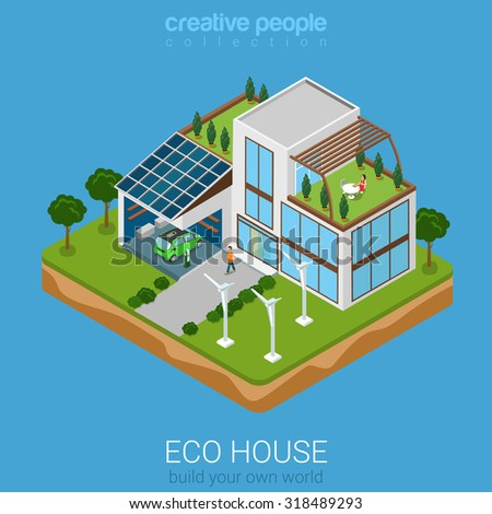 Flat 3d isometric green eco friendly house concept. Electric car sun battery wind turbine and house on rectangular platform. Build your own world collection. - stock vector