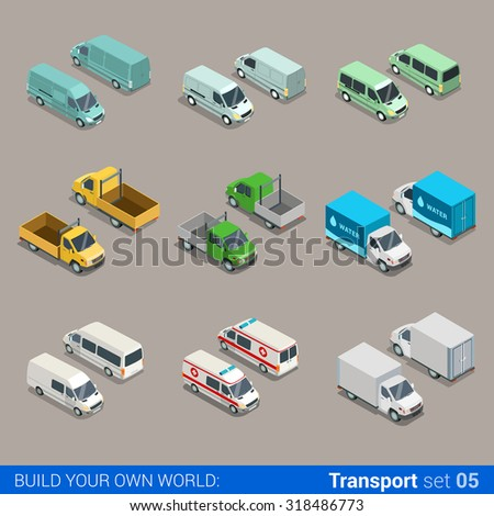 Flat 3d isometric high quality city freight cargo transport icon set. Car truck van construction ambulance delivery water micro bus. Build your own world web infographic collection. - stock vector