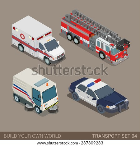 Flat 3d isometric high quality city municipal emergency road transport icon set. Ambulance fire department police sedan dept pavement sidewalk cleaner. Build your own world web infographic collection. - stock vector