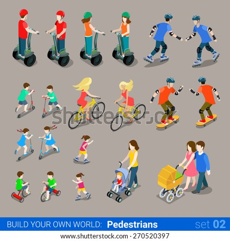 Flat 3d isometric high quality city pedestrians on wheel transport icon set. Segway skates kickboard bicycle pram skate-board scooter and riders. Build your own world web infographic collection. - stock vector