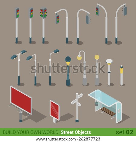 Flat 3d isometric high quality city street urban objects icon set. Traffic light street lights big board citylight bus transport stop road signboard. Build your own world web infographic collection. - stock vector
