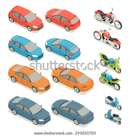 Flat 3d isometric high quality city transport icon set. Car bicycle scooter motorbike. - stock vector