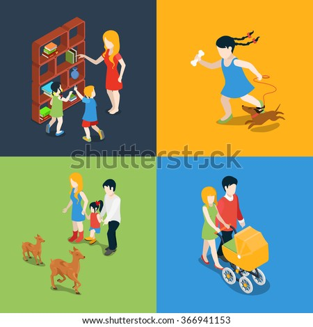 Flat 3d isometric high quality family holiday weekend evening time icon set. Mom daughter son dad book reading pram stroll walk dog zoo visiting. Build your own world web infographic collection. - stock vector