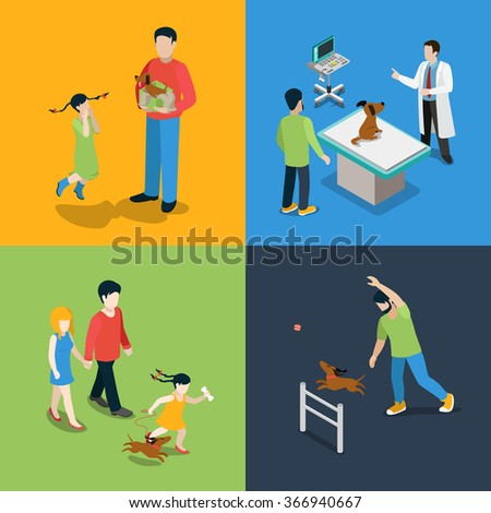 Flat 3d isometric high quality pet dog walking veterinary icon set. Mom dad daughter puppy present veterinarian checkup visiting walker training. Build your own world web infographic collection. - stock vector