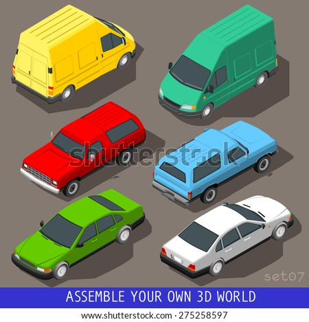 Flat 3d isometric high quality vehicle tiles icon collection. Car pickup van delivery van panel truck. Assemble your own 3d world web infographic set. - stock vector