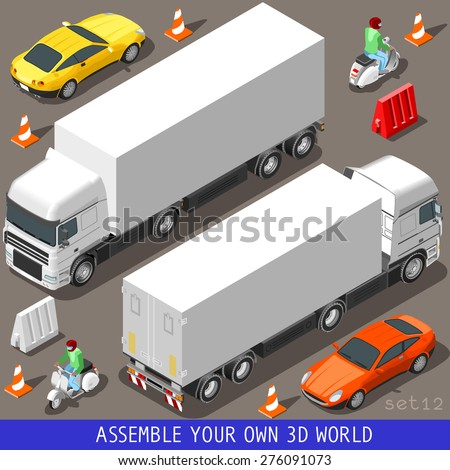 Flat 3d Isometric High Quality Vehicle Tiles Icon Collection. Truck  Articulated Lorry Coupe Car and  Motor Scooter with Delivery Man. Assemble your own 3d World Web Infographic Set. - stock vector