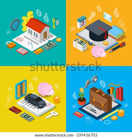 Flat 3d isometric home mortgage tuition fee credit car loan plan equity stock exchange portfolio icon set concept web infographics vector illustration. Financial banking knowledge education estate - stock vector