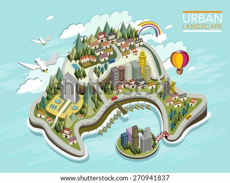 flat 3d isometric infographic for lovely urban landscape with forest and mountains - stock vector