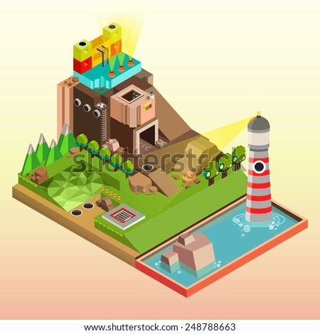 Flat 3d isometric infographics  concept art,  Board game with city building, Vector illustrator - stock vector