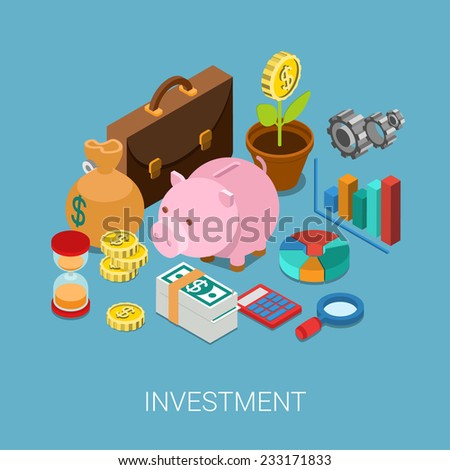 Flat 3d isometric investment, capitalization, money savings, finance web infographic concept vector. Piggy bank, coin flower plant, money bag, sand clock, cogwheel, chart graphic report, briefcase. - stock vector