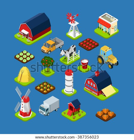 Flat 3d isometric isometry set countryside infographics farm building object tool equipment. Country side barn warehouse storage shop tractor windmill cow garden field grow harvest stack hay. - stock vector