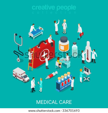 Flat 3d isometric medical services doctor nurse first aid kit concept web infographics vector illustration. Micro hospital staff pill syringe ambulance diagnosis icon. Creative people collection - stock vector