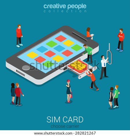 Flat 3d isometric mobile carrier SIM card insert process concept. Micro people stick nano SIM into smartphone. Connectivity generation concept. Build creative people world constructor collection. - stock vector