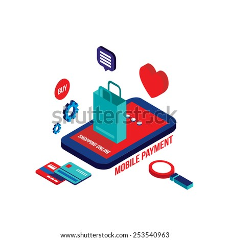Flat 3d isometric modern design Mobile payment Online shopping and e-commerce concept Vector illustration - stock vector