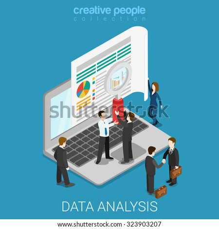 Flat 3d isometric online data analysis web infographics concept. Micro people hold magnifier before big laptop screen. Creative people collection. - stock vector