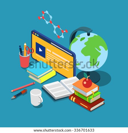 Flat 3d isometric online internet courses education knowledge learning concept web infographics vector illustration. Course lecture video interface window globe books stationery chemical formula. - stock vector