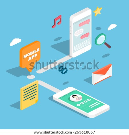 Flat 3d isometric phones with user interface development concept. Application and software, screen and phone. - stock vector