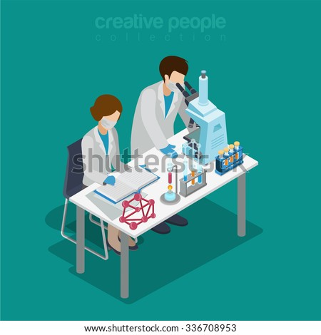 Flat 3d isometric science lab experiment research pharmaceutics chemical concept web infographics vector illustration. Couple scientist assistant microscope flask test tube. Creative people collection - stock vector